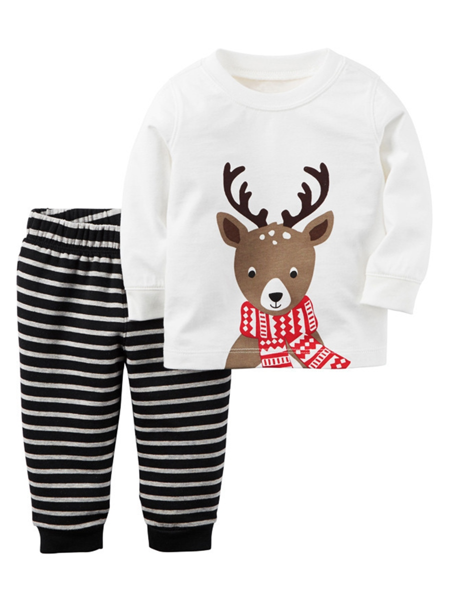 Ericdress Christmas Deer Print Stripe Boy's 2-Pcs Outfit