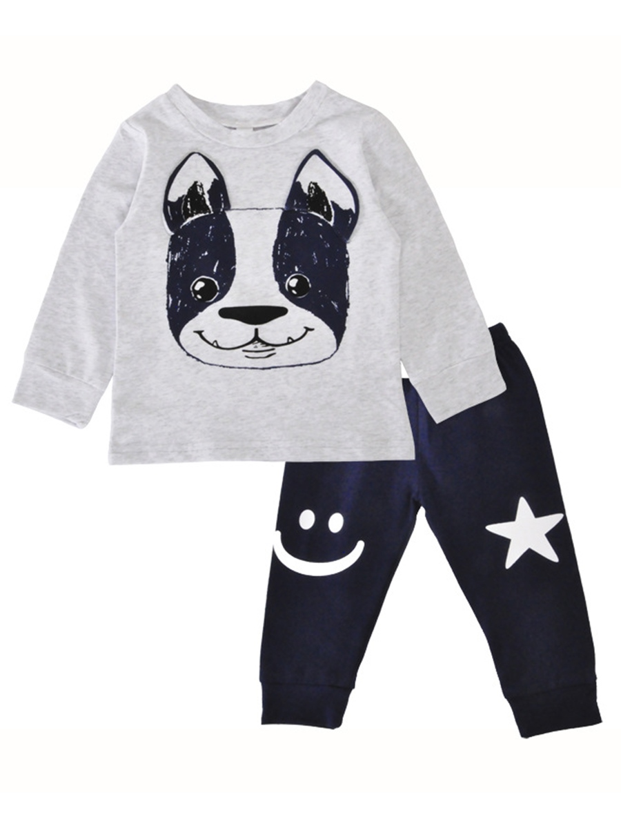 Ericdress Puppy T-Shirt & Smiley Star Pants Unisex Baby's Outfit