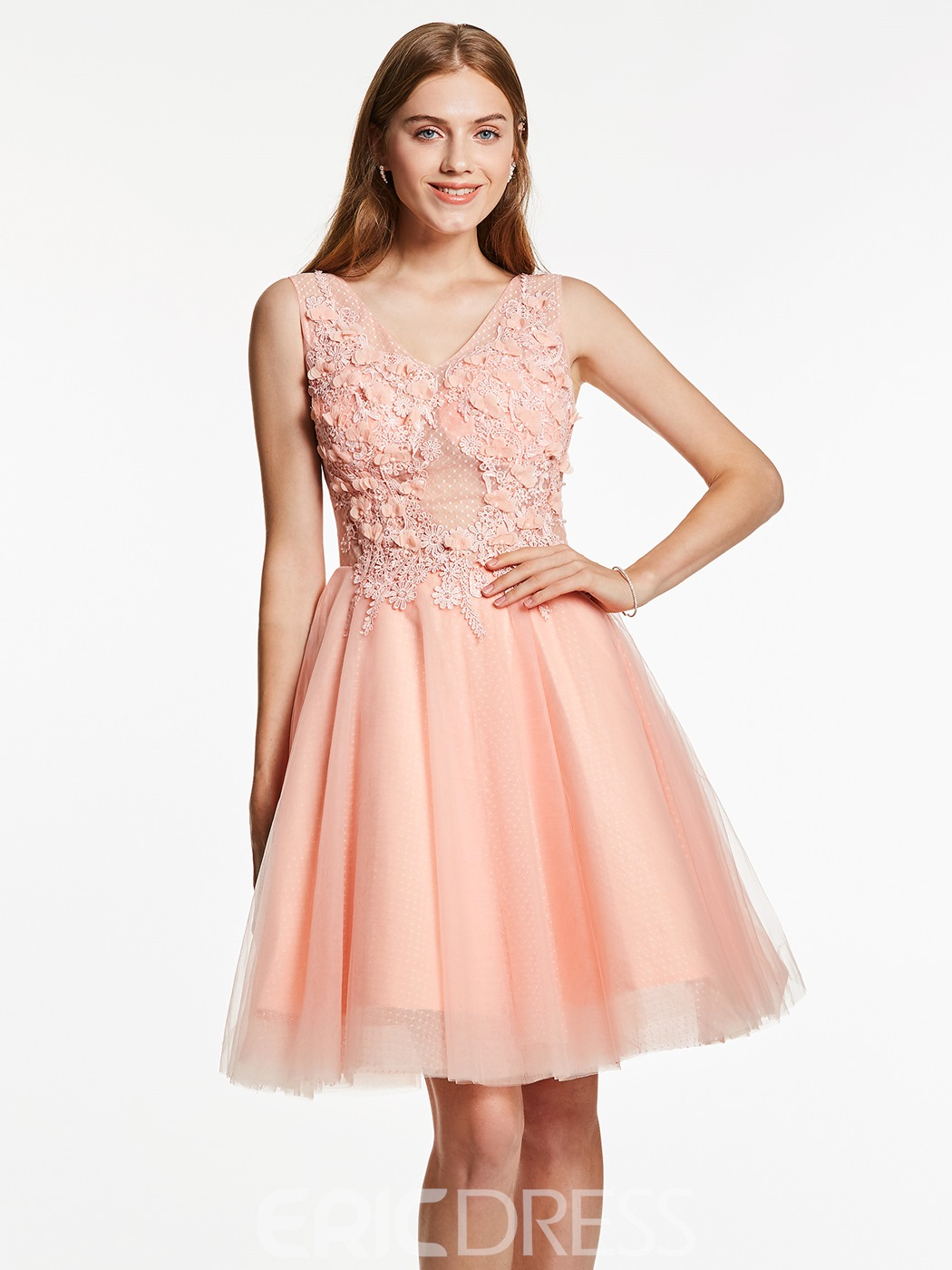 Ericdres A-Line V-Neck Appliques Beaded Flowers Short Homecoming Dress