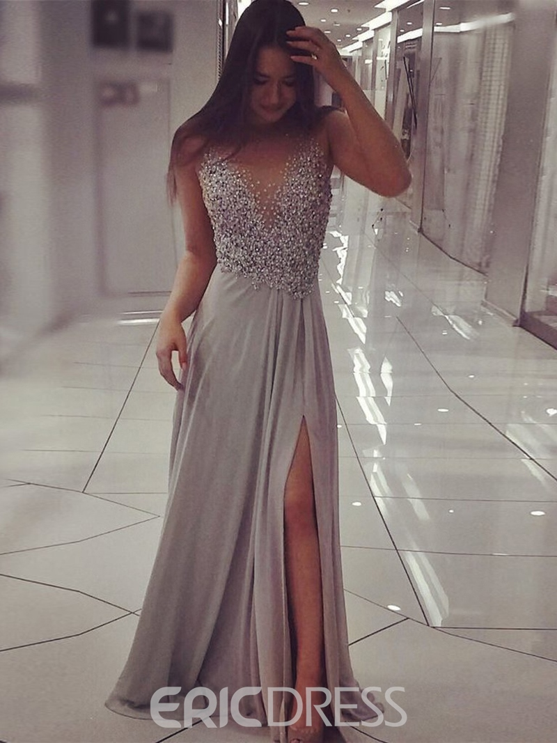Ericdress Sheer Back Appliques Pearls Prom Dress 2019