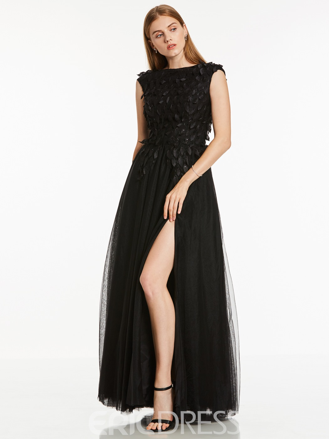 Ericdress Scoop Neck Appliques A Line Evening Dress With Side Slit