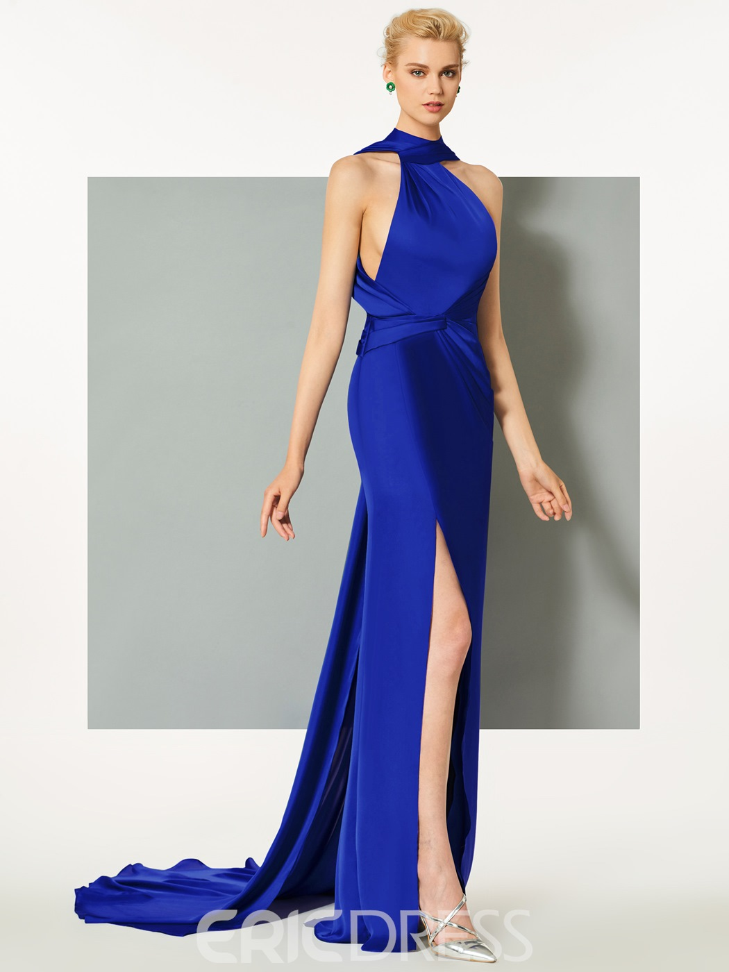 Ericdress A-Line High Neck Court Train Evening Dress With Split Side