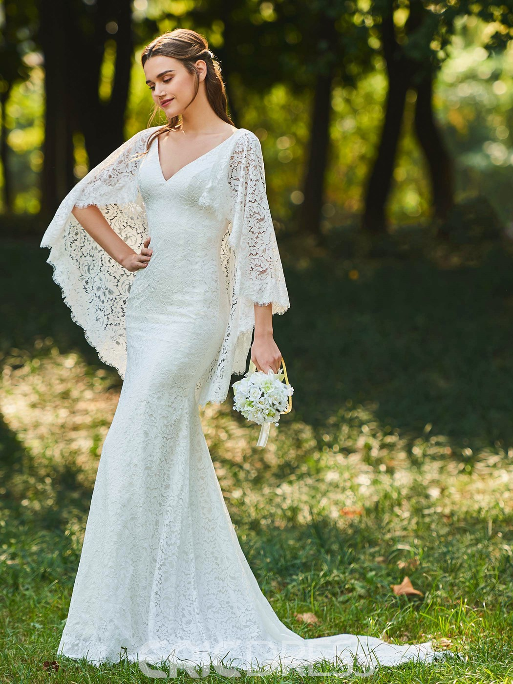 Ericdress V Neck Lace Mermaid Backless Wedding Dress