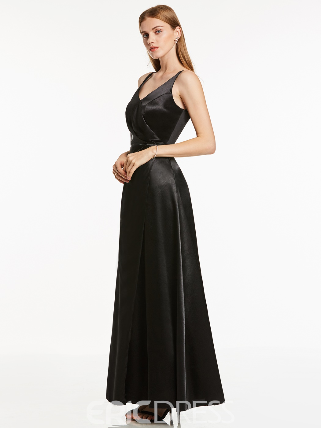 Ericdress Simple V-Neck A-Line Long Evening Dress