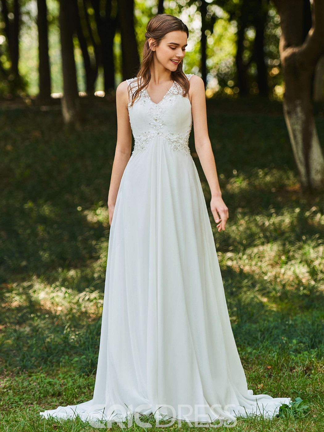 Ericdress V Neck A Line Chiffon Wedding Dress