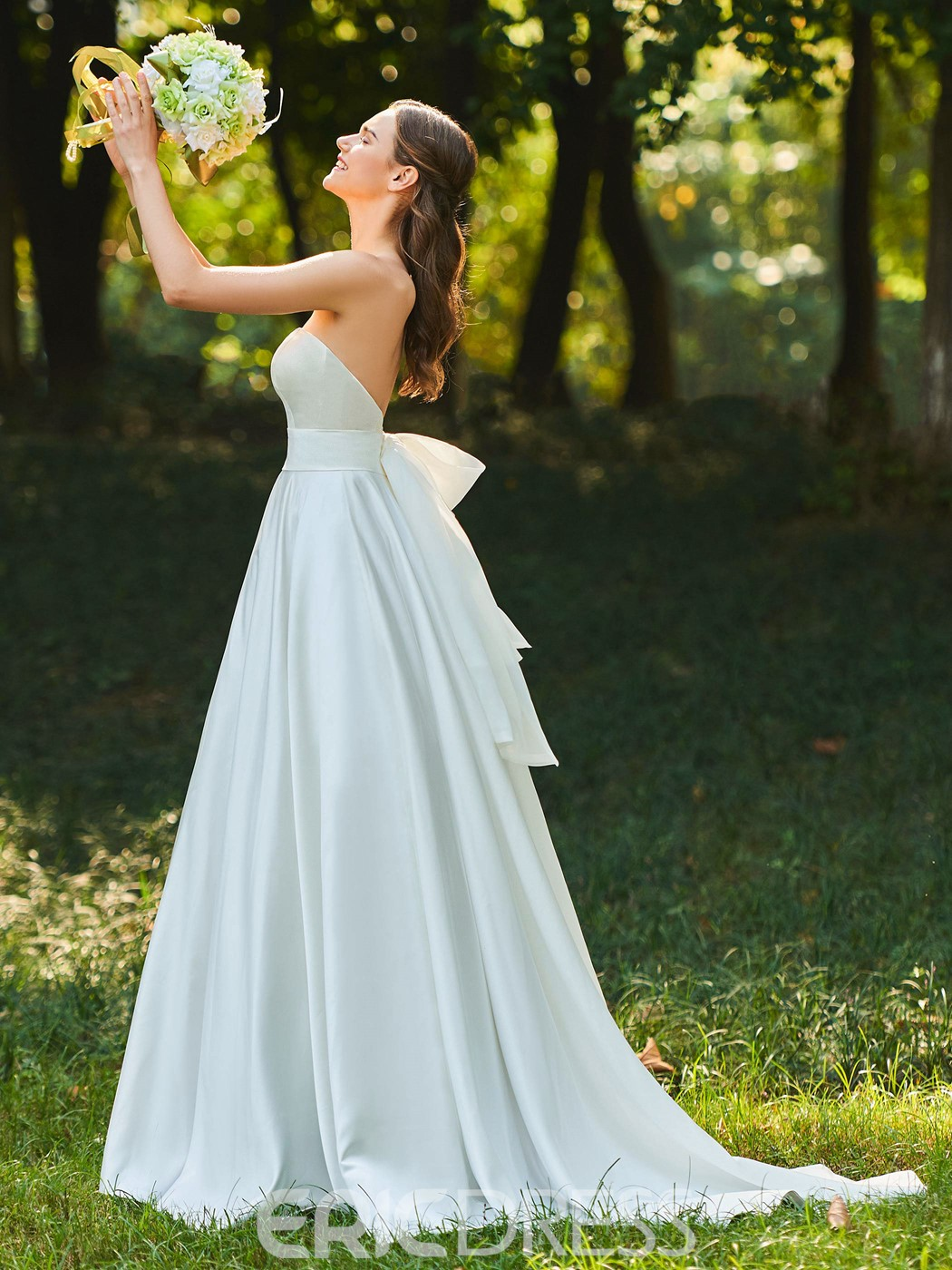 Ericdress Strapless Bowknot Country Wedding Dress