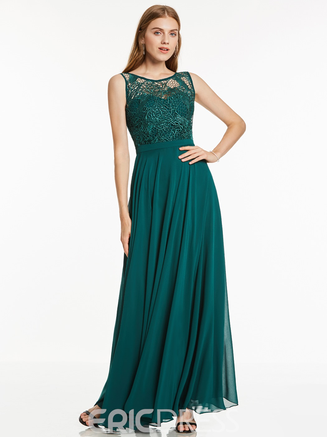 Ericdress A Line Scoop Neckline Lace Chiffon Evening Dress