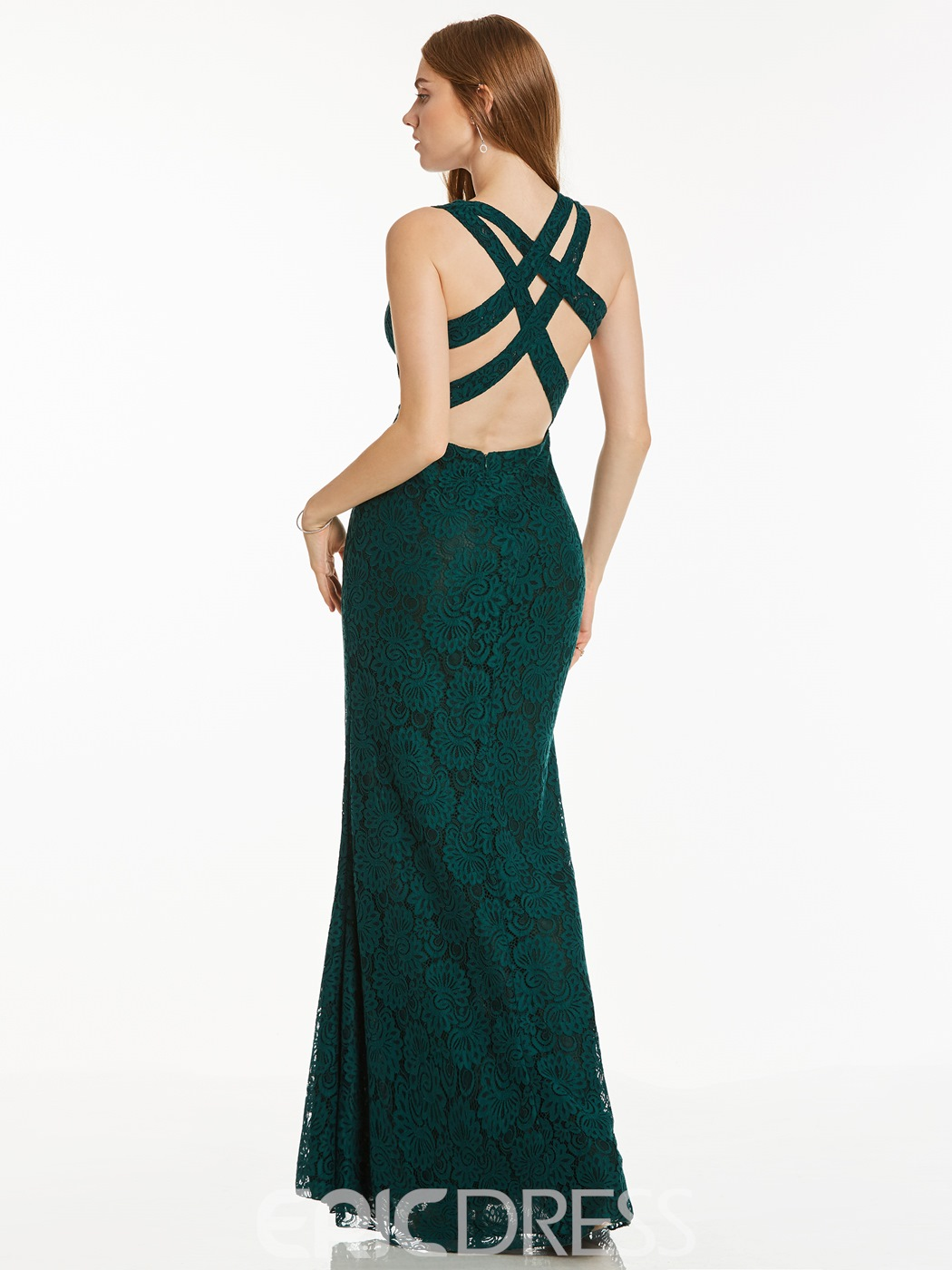 Ericdress Sheath Lace Criss-Cross Straps Long Evening Dress