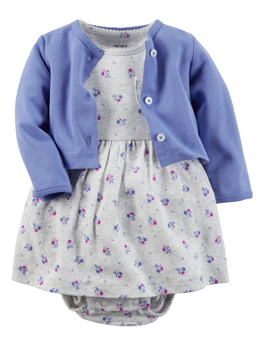 Ericdress Plain Coat+Floral Dress Baby Girl's Jumpsuit