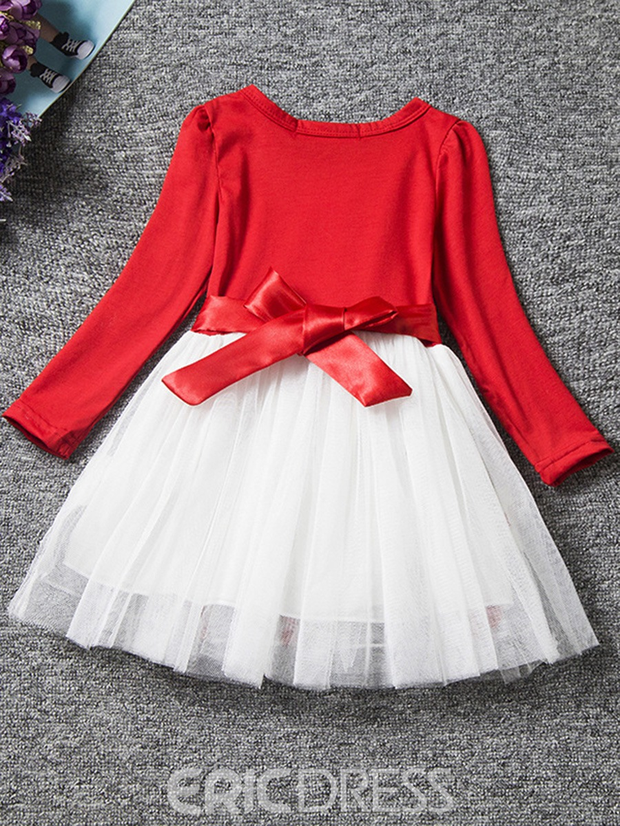 Ericdress Flower Print Mesh Patchwork Bowknot Girl's Dress