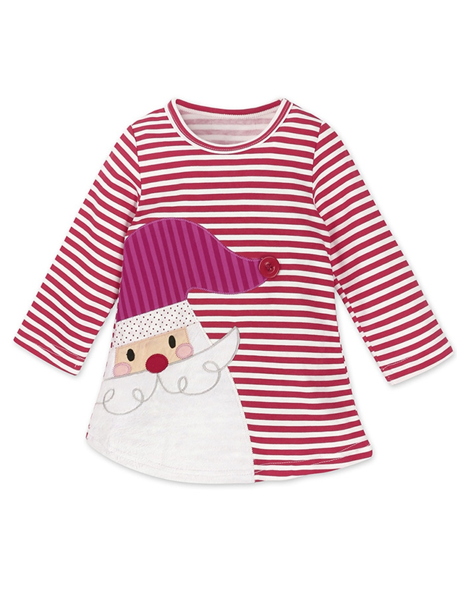 Ericdress Christmas Print Stripe Round Neck Girl's Dress
