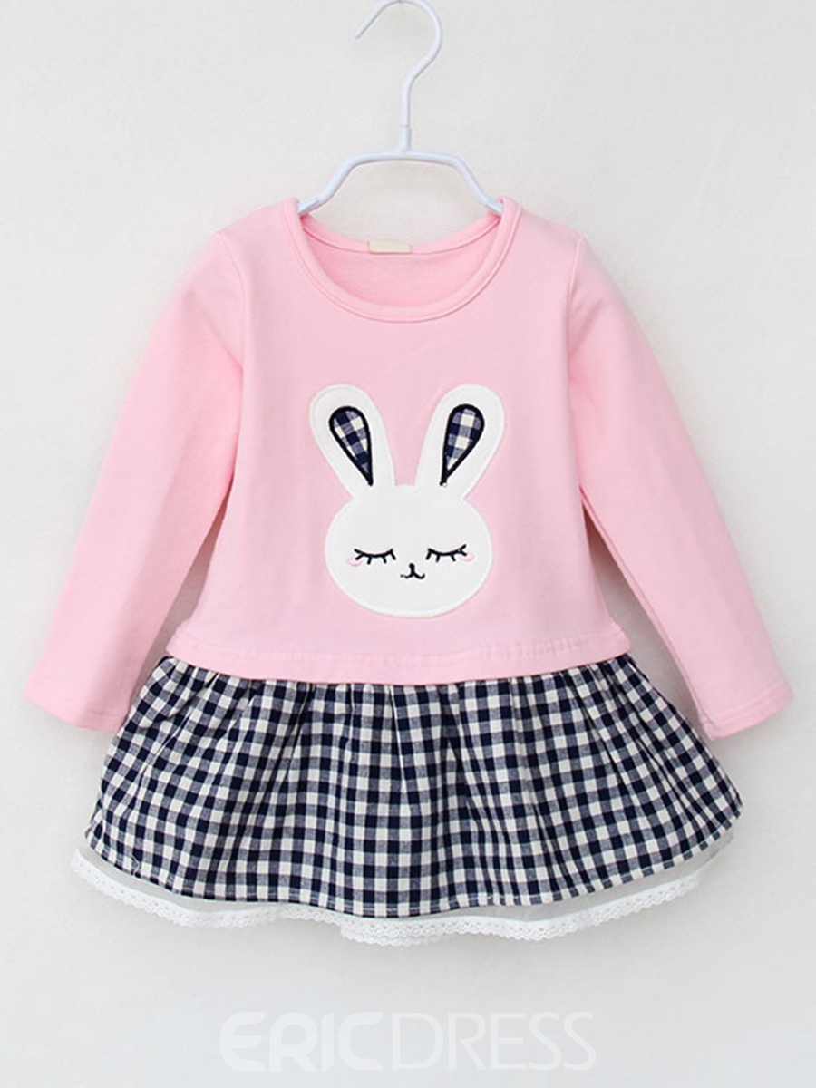 Ericdress Rabbit Embroidery Plaid Patchwork Girl's A-Line Dress