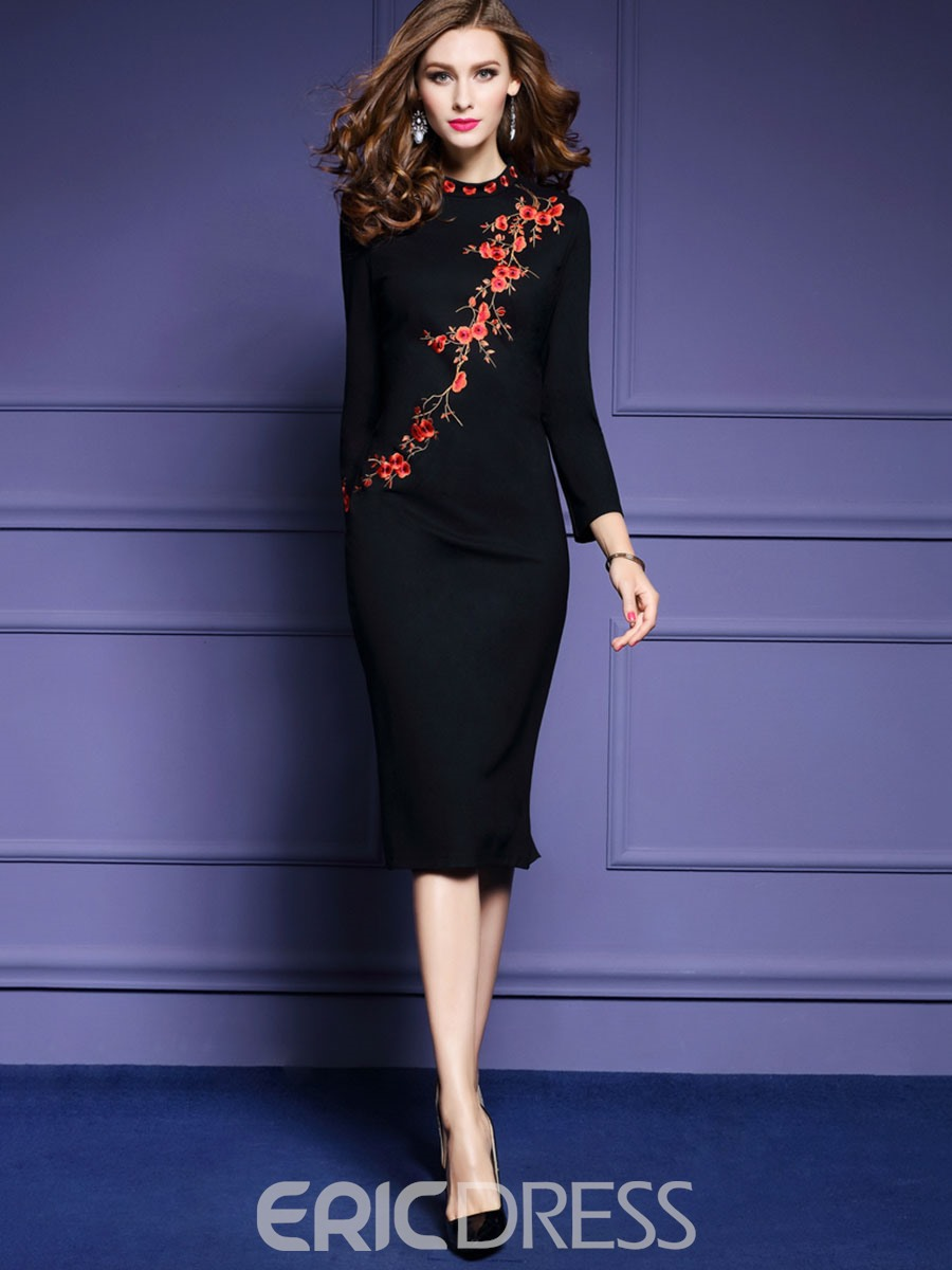 Ericdress Nine Points Sleeves Embroidery Bodycon Dress