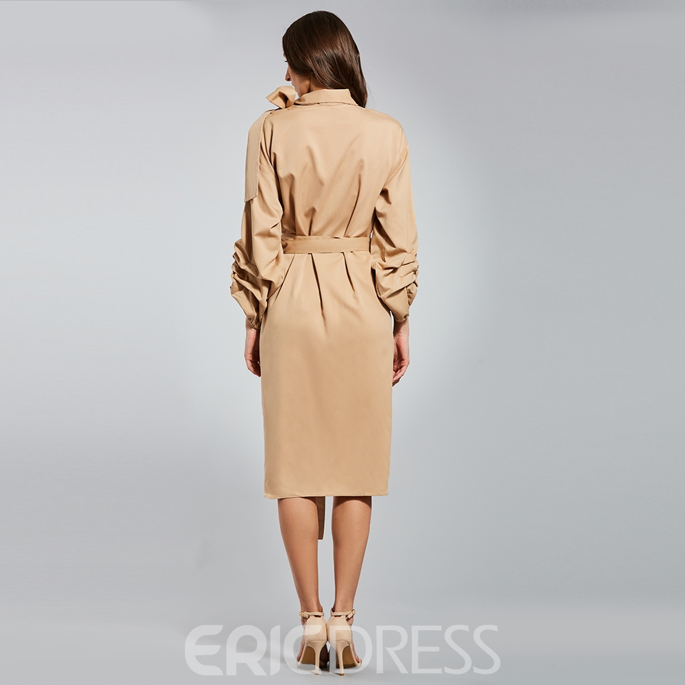 Ericdress Pleated Puff Sleeve Bowknot Belt Plain A Line Dress