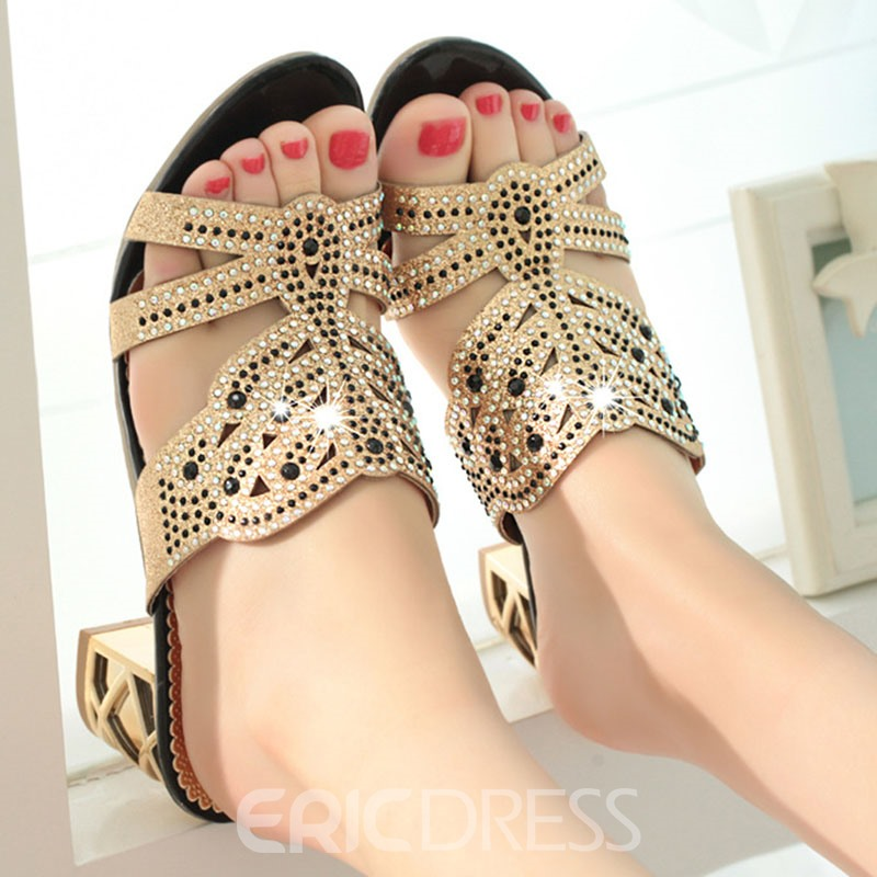 Ericdress Rhinestone Color Block Flip Flop Women's Mules Shoes