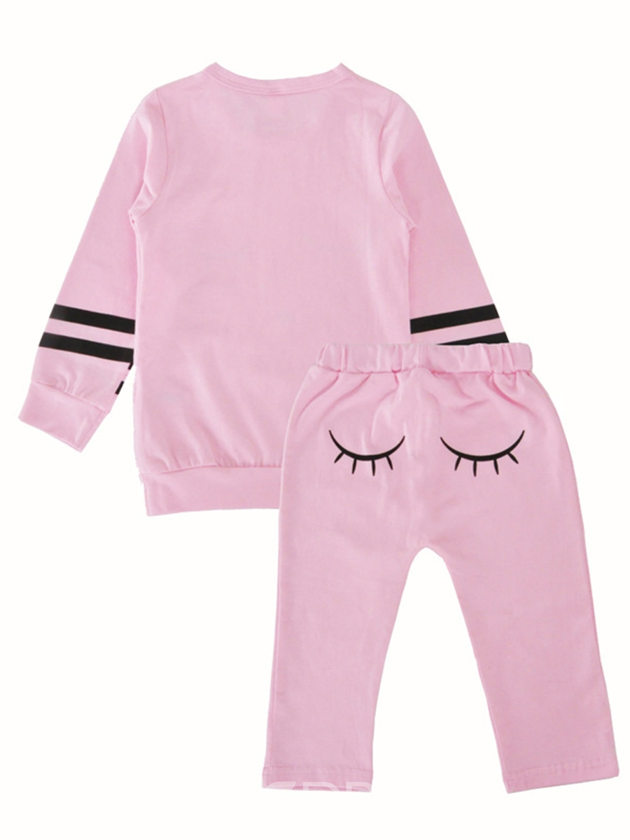 Ericdress Pink Eye Print Cotton Baby Girl's Outfit