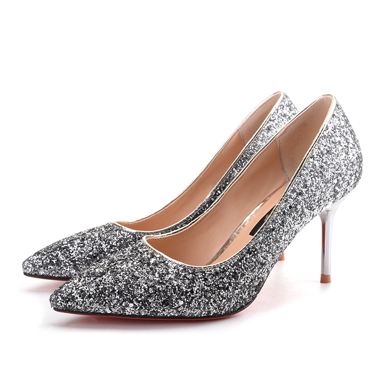 Ericdress Glitterring Sequin Slip-On Stiletto Heel Pumps