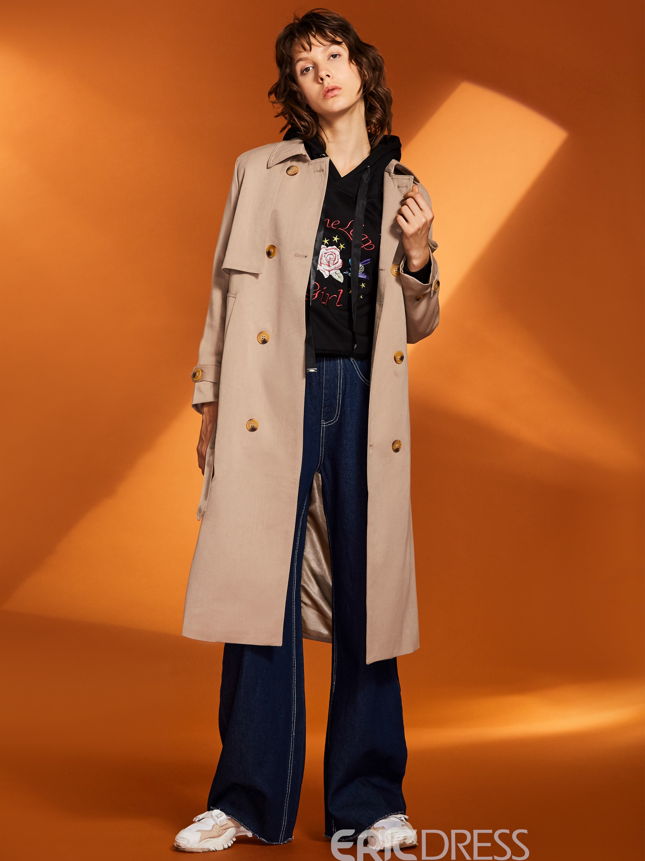 Ericdress Slim Lapel Double-Breasted Women's Trench Coat