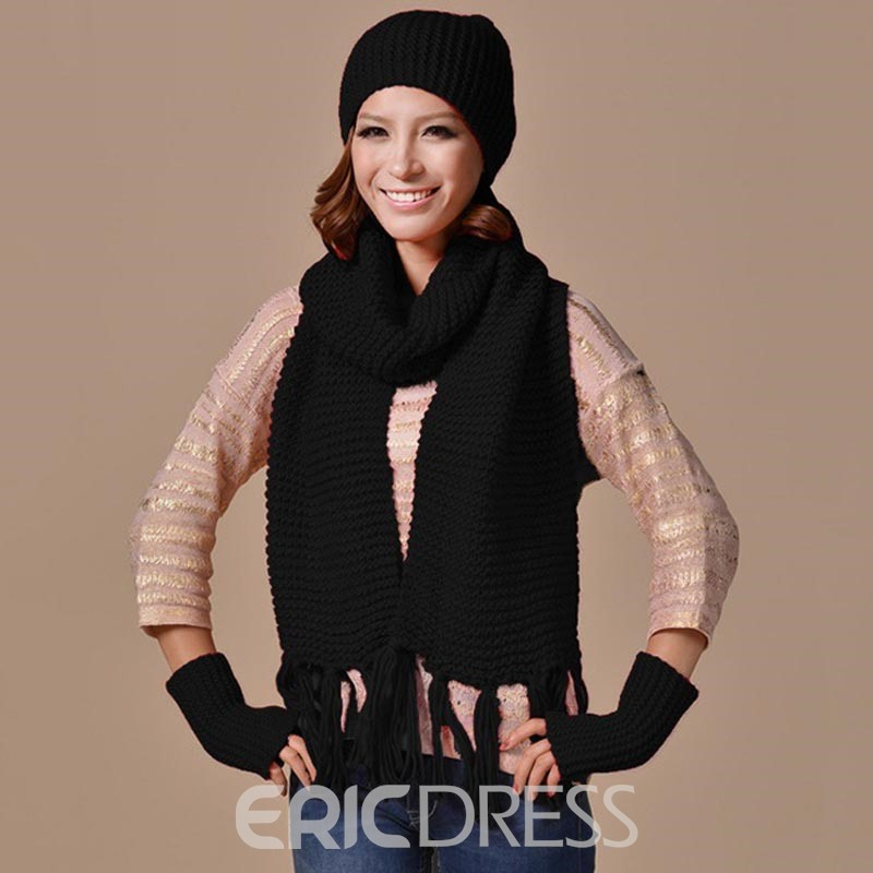 Ericdress Pure Color Wool Knitting Outdoor Scarf&Hat for Women
