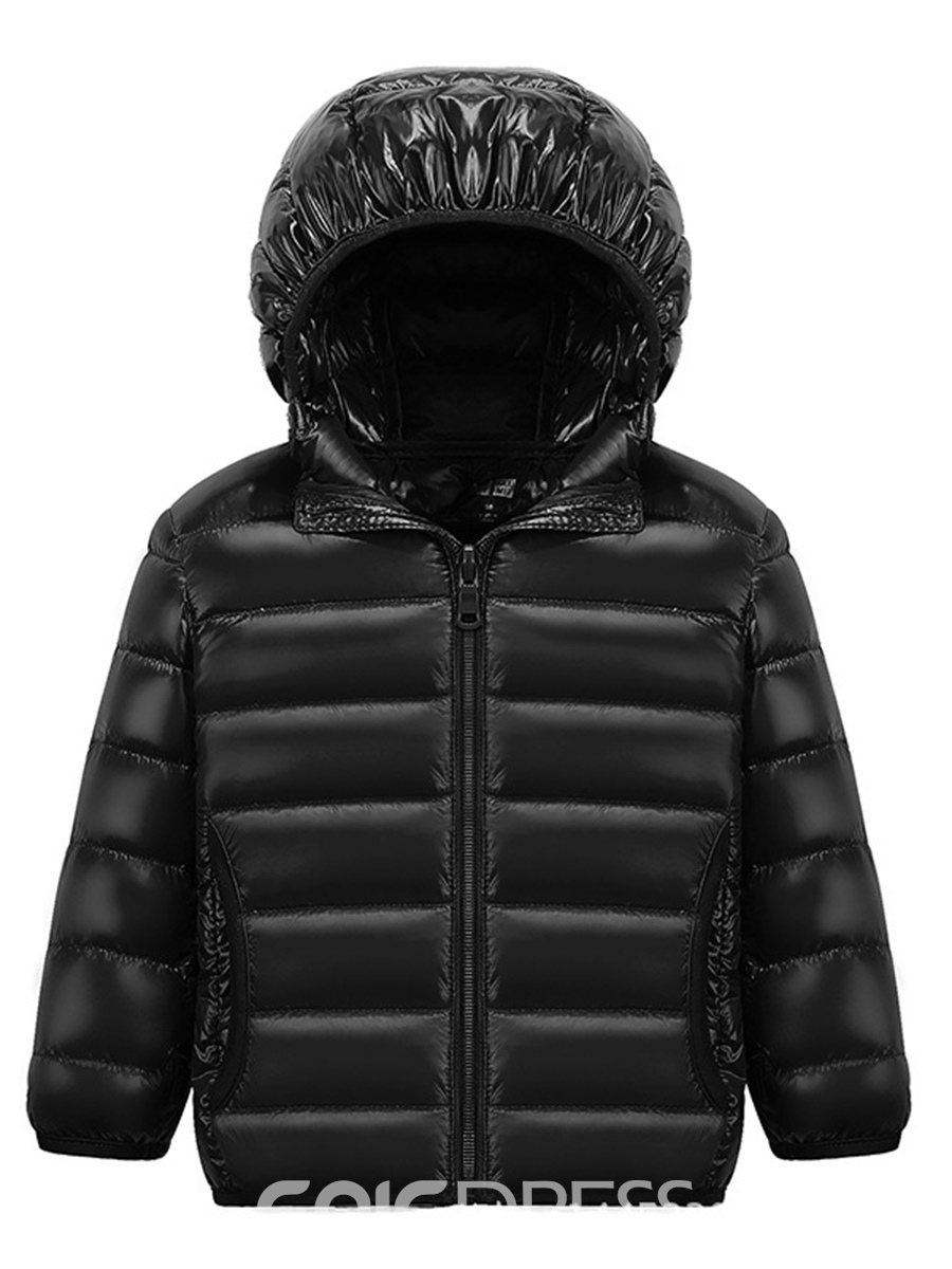 Ericdress Plain Hooded Zipper Unisex Down Jacket