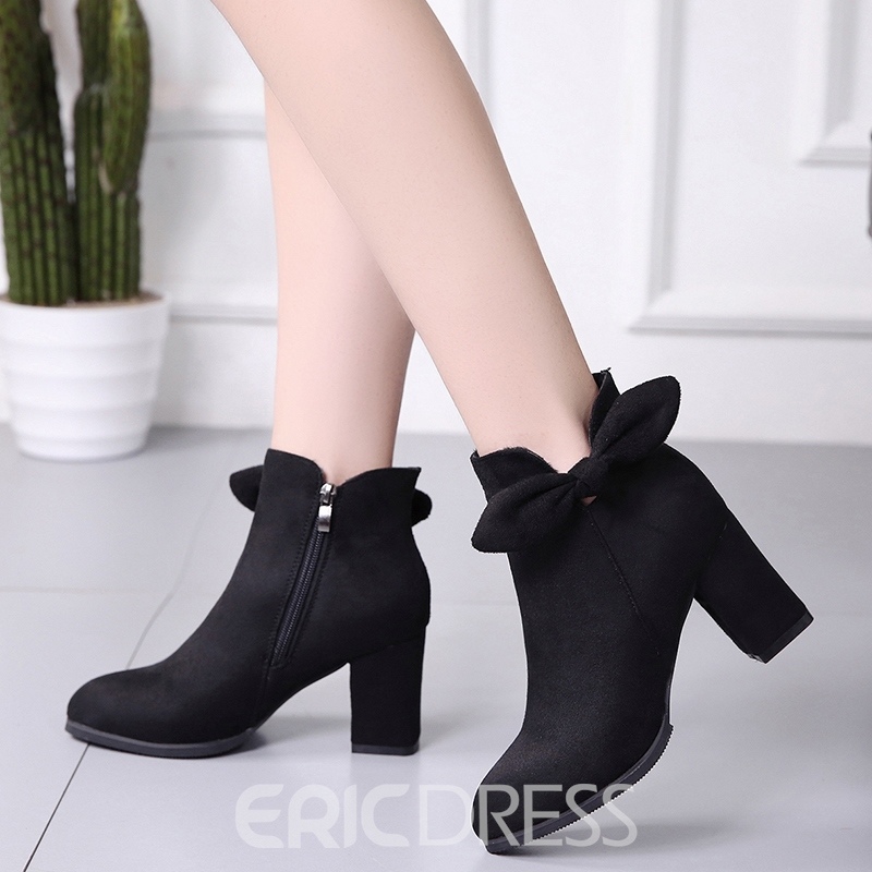 Ericdress Bowknot Decorated Round Toe Chunky Heel Booties