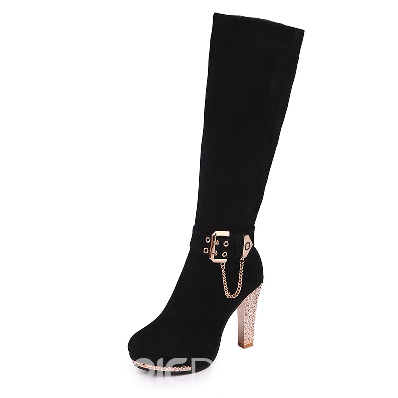 Ericdress Chain Buckle Decorated Platform Knee High Boots
