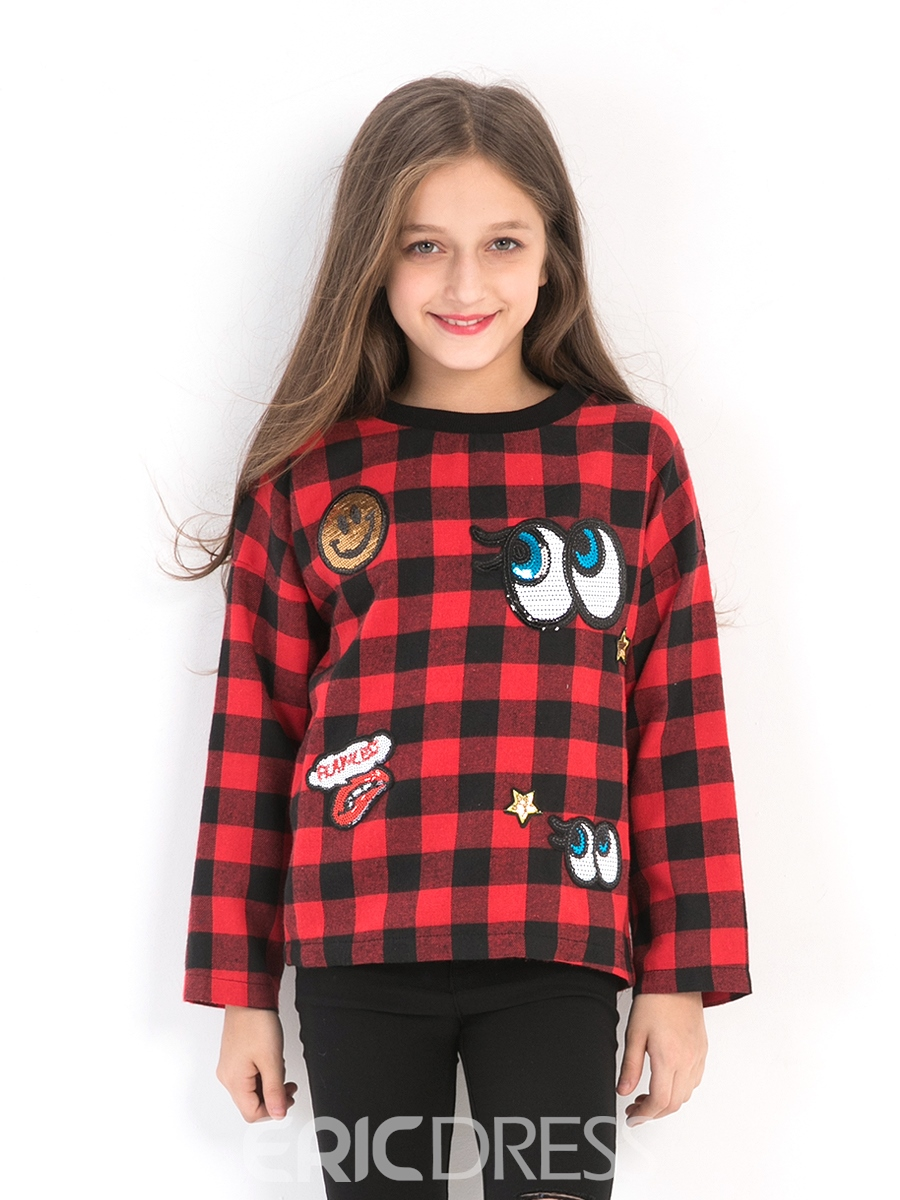 Ericdress Plaid Print Pullover Girl's Sweater