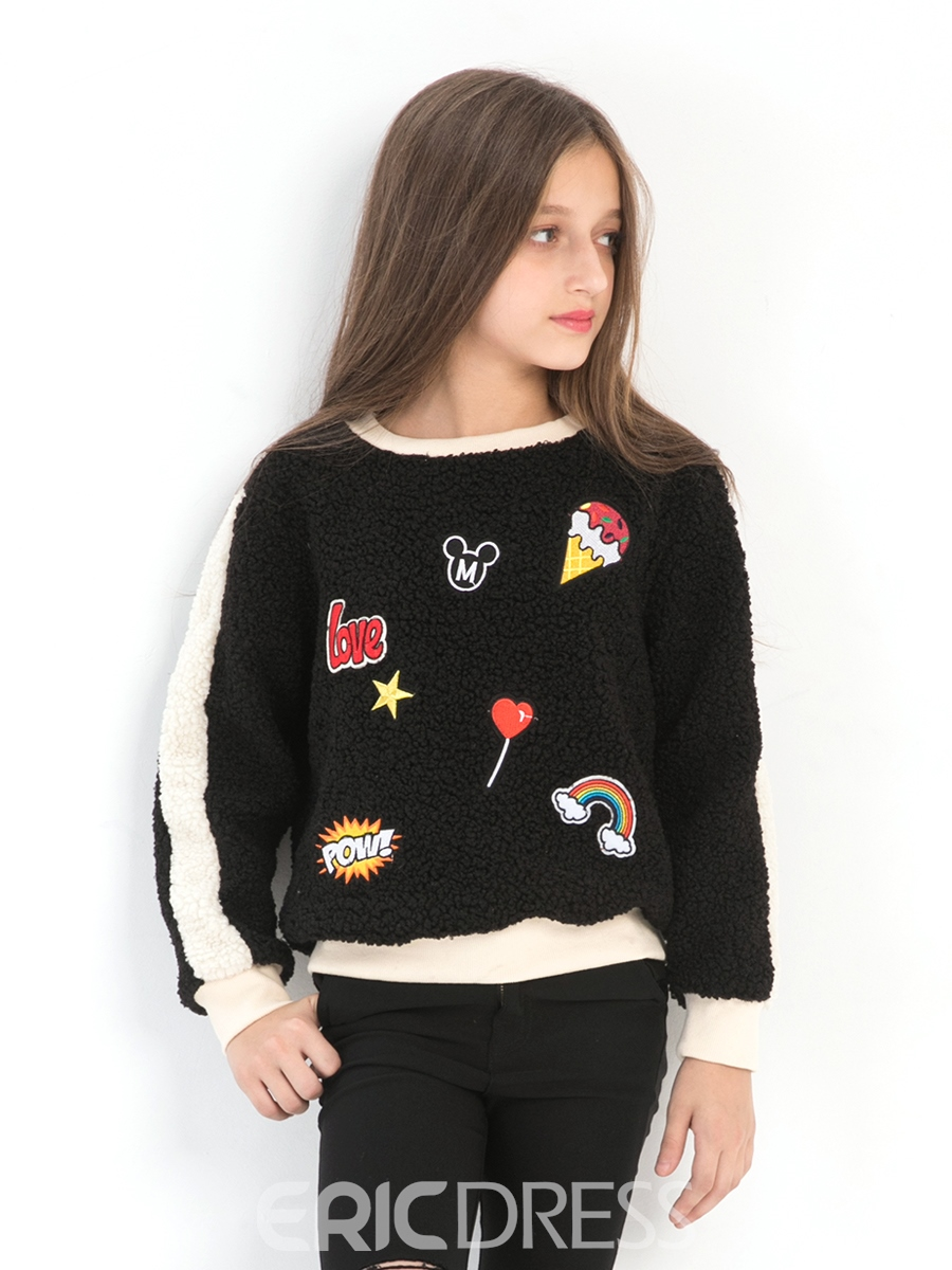 Ericdress Color Block Print Long Sleeve Girl's Sweater