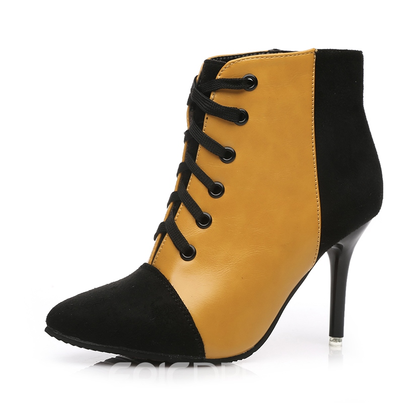 Ericdress Color Block Lace Up Stiletto Heel Boots