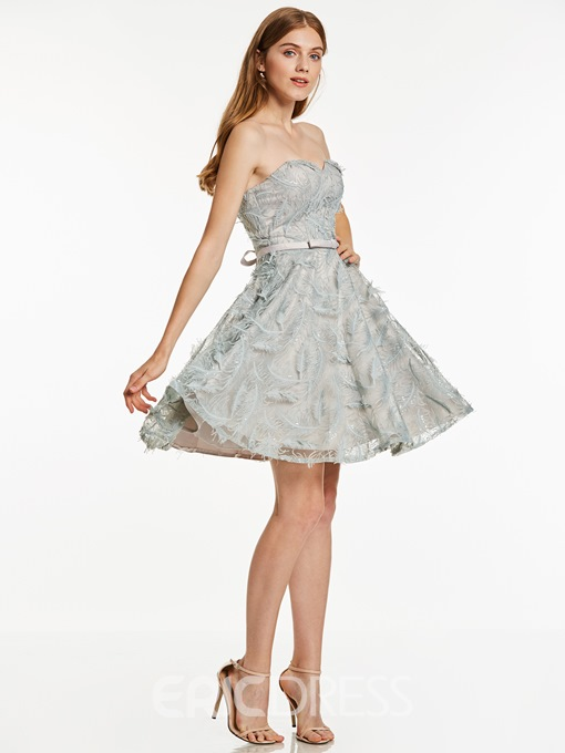 Ericdress Sweetheart Lace-Up A Line Cocktail Dress