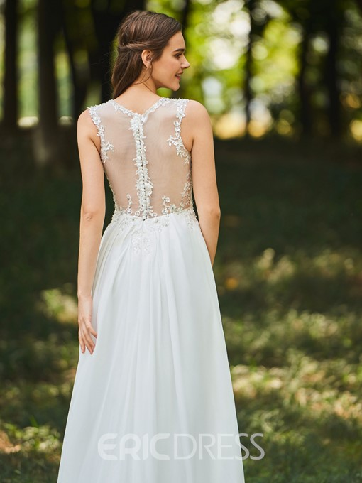 Ericdress Appliques Sequins Button Outdoor Wedding Dress