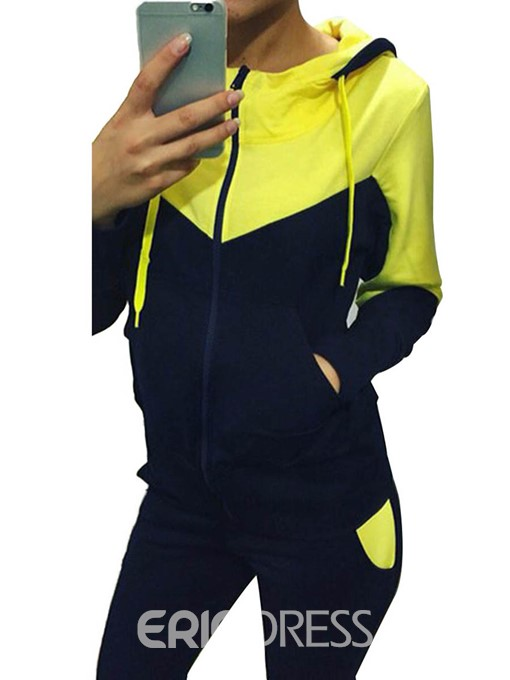 Ericdress Color Block Pocket Zipper Patchwork Hoodie and Pants Two Piece Sets