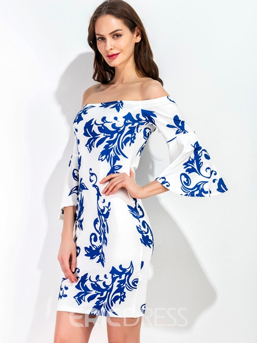 Ericdress Slash Neck Flare Sleeve Print Bodycon Dress