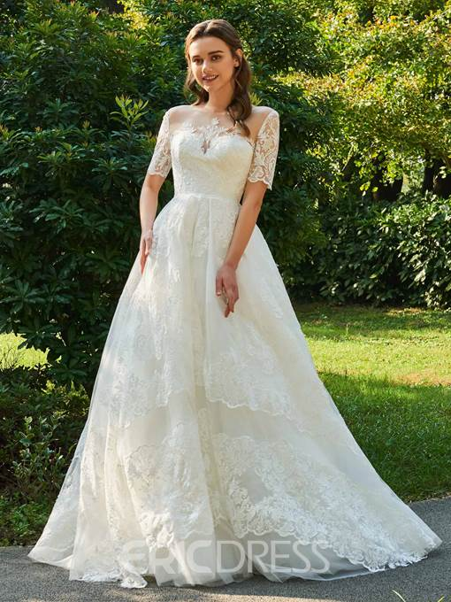 Ericdress Appliques Ball Gown Wedding Dress with Sleeves