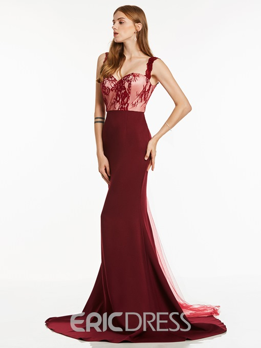 Ericdress Straps Zipper-Up Lace Mermaid Evening Dress