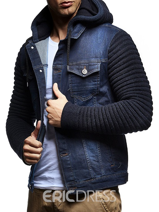 Ericdress Hooded Patchwork Pockets Men's Jacket