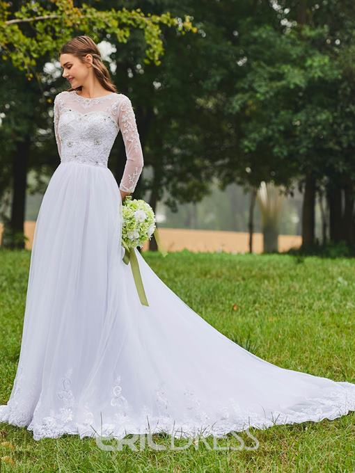 Ericdress Embroidery Beaded Long Sleeves Wedding Dress