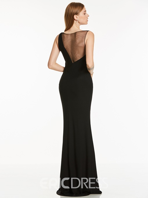 Ericdress Scoop Neck Split-Front Beaded Evening Dress