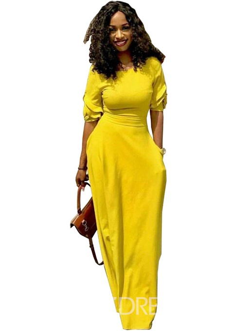 Ericdress Plain Half Sleeve Straight Maxi Dress