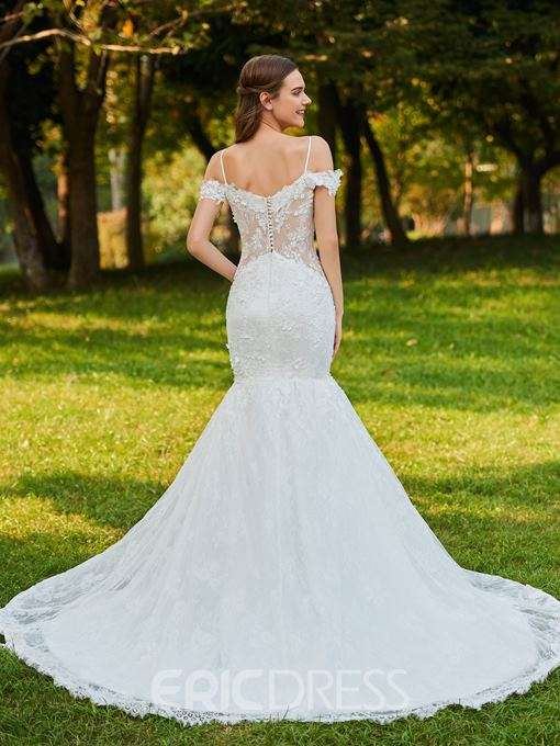 Ericdress Spaghetti Straps Button Lace Mermaid Wedding Dress