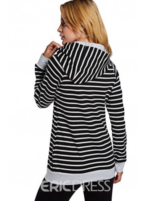 Ericdress Stripe Zipper Mid-Length Sweatshirt