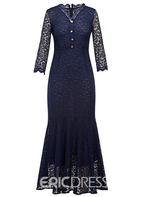 Ericdress V-Neck Button Mermaid Lace Maxi Dress