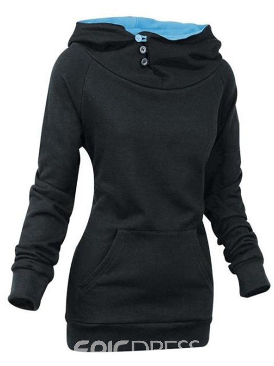 Ericdress Plain Mid-Length Slim Sweatshirt