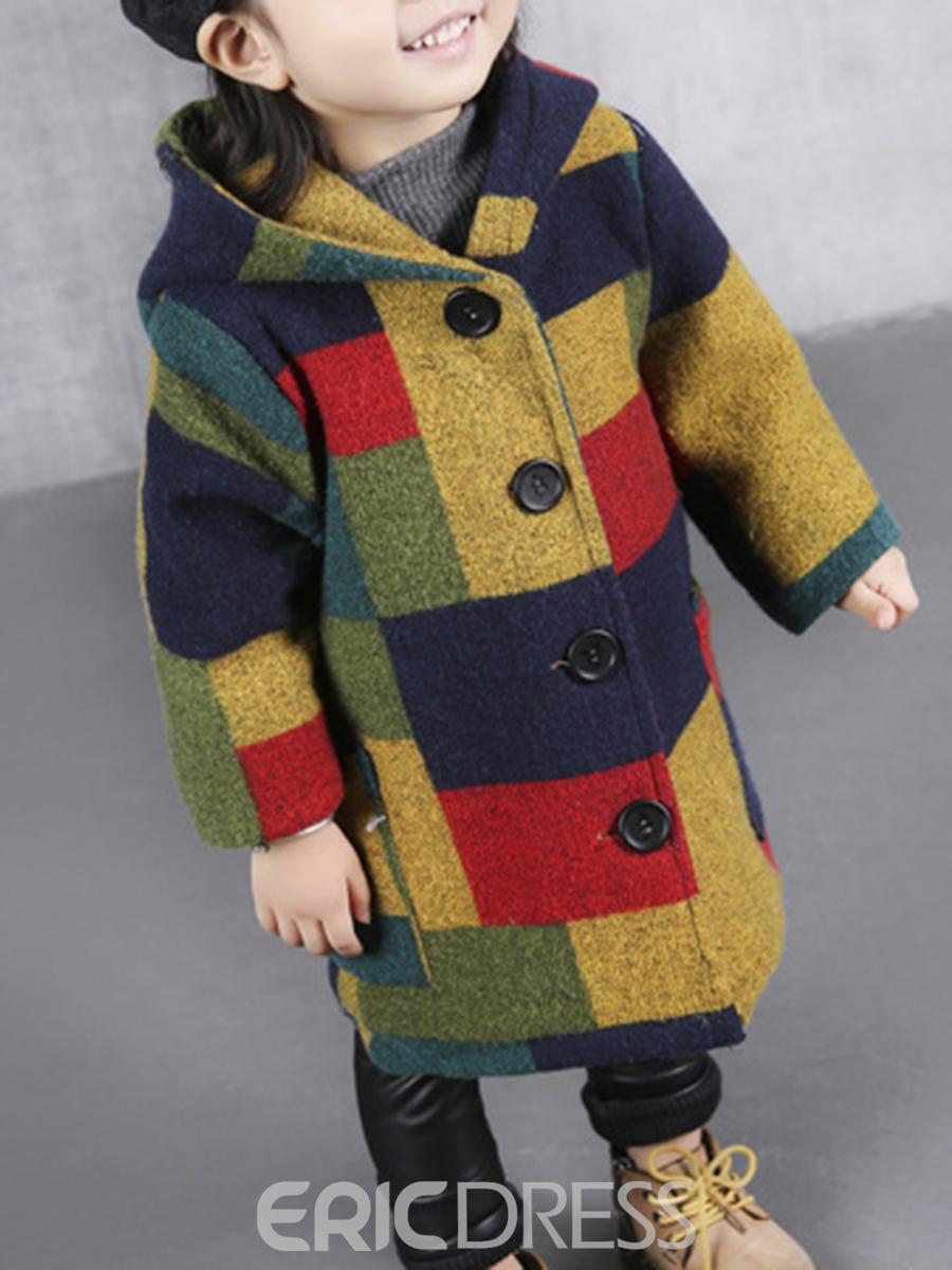 Ericdress Plaid Hooded Single-Breasted Baby Girl's Coat