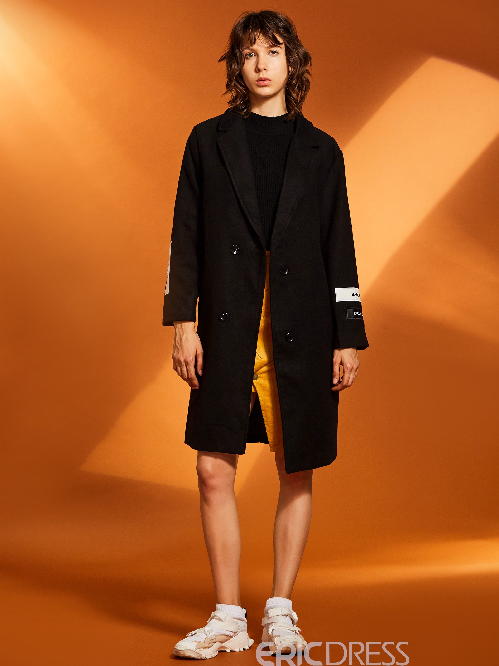 Ericdress Notched Lapel Straight Mid-Length Women's Overcoat