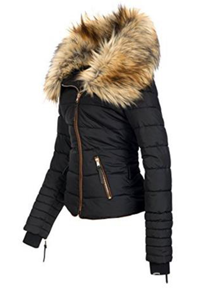 Ericdress Slim Faux Fur Zipper Women's Jacket