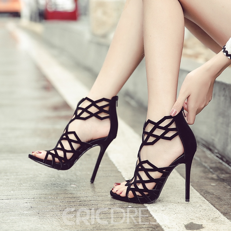 Ericdress Hollow Zipper Open Toe Plain Stiletto Sandals