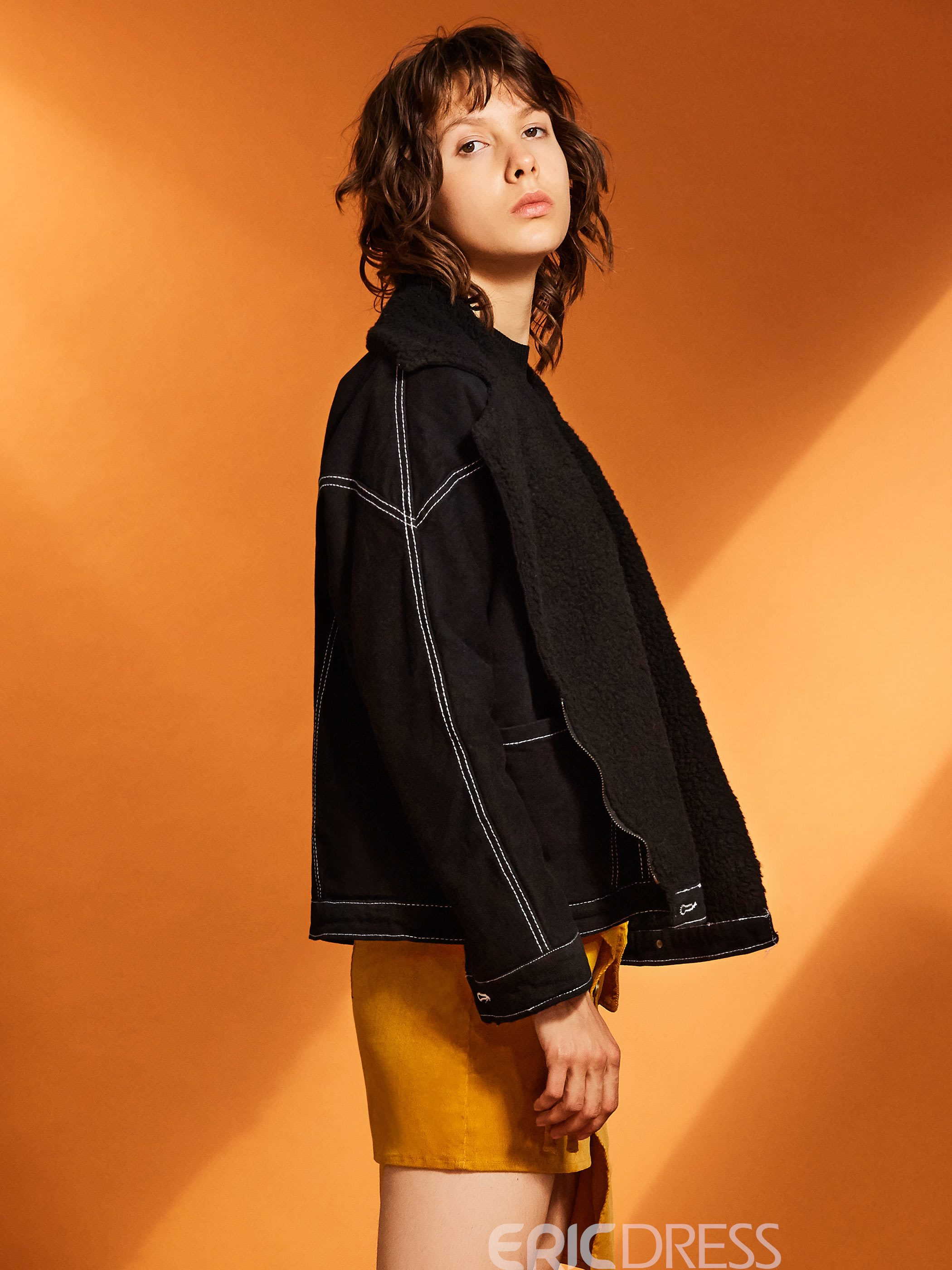 Ericdress Loose Notched Lapel Batwing Sleeve Women's Jacket