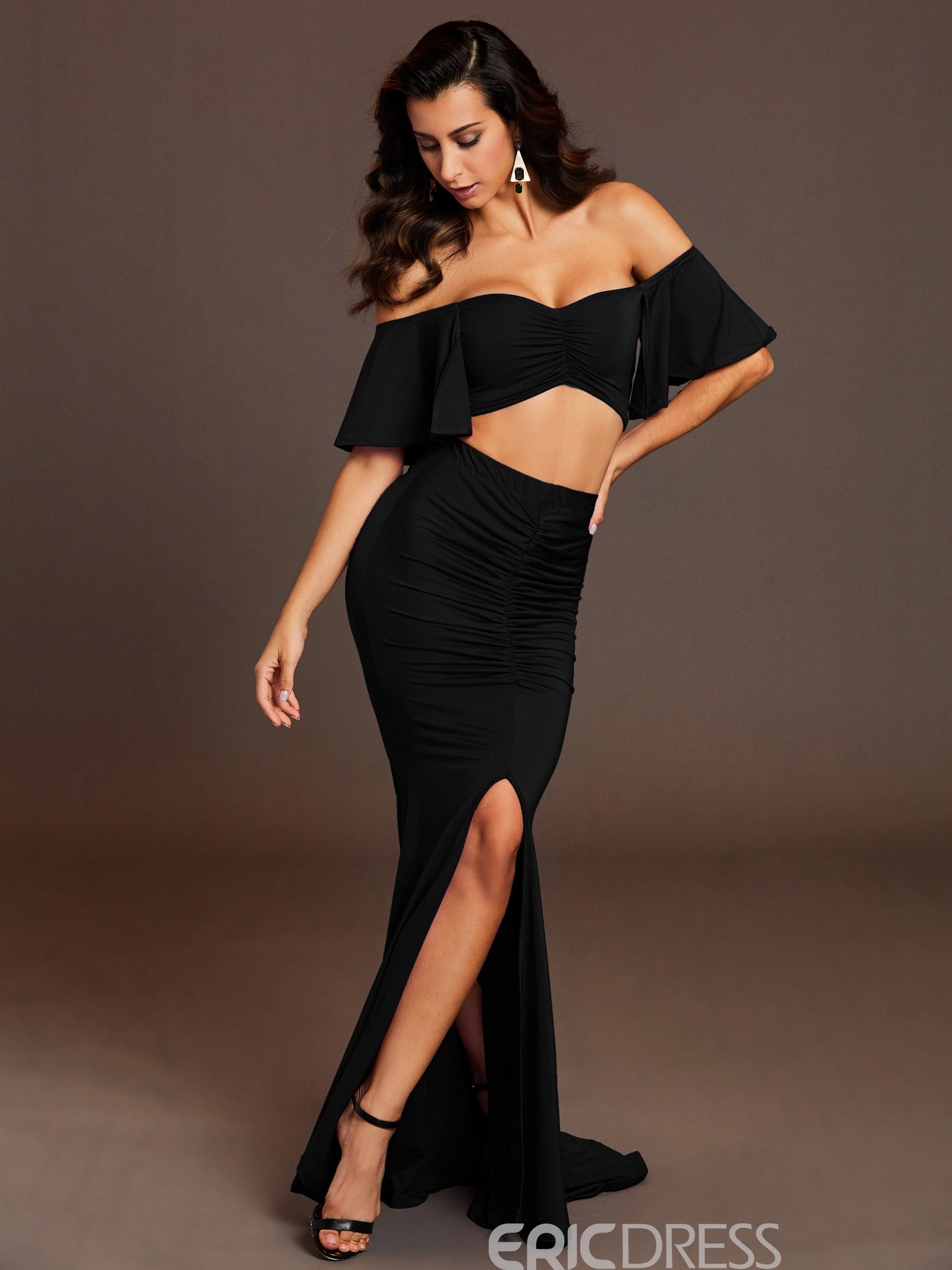 Plain Pleated Floor-Length Women's Skirt Two Piece Set