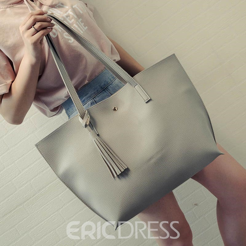 Ericdress Simple Solid Color Tassel PU Shoulder Bag